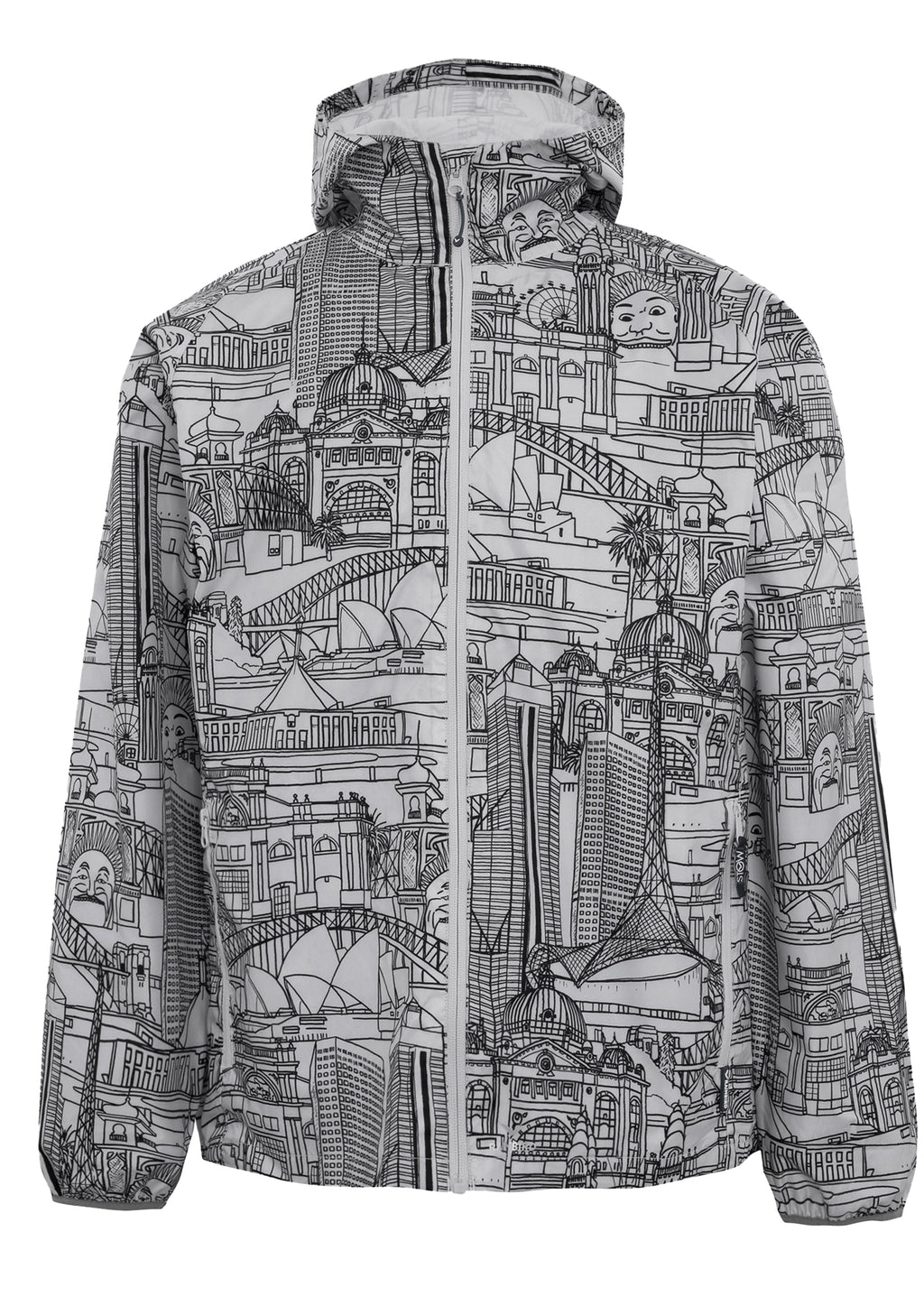 RAINBIRD UNISEX ADULTS GOSTOW RAIN JACKET AUSSIE BUILDINGS PRINT <BR> 8531