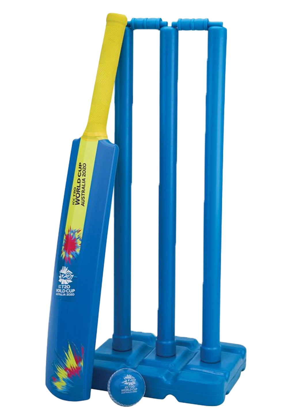 GRAY NICOLLS T20 WORLD CUP BEACH CRICKET SET <BR> 26142-BLUE/YELLOW