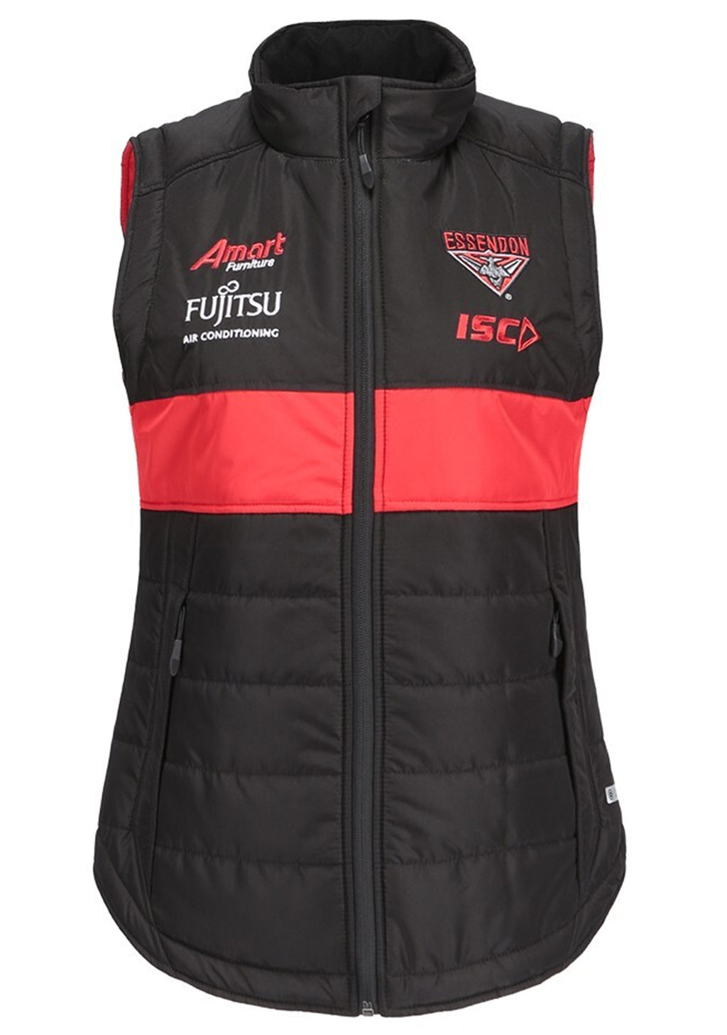 ISC WOMENS ESSENDON BOMBERS 2019 PADDED VEST <BR> EB19VST01L