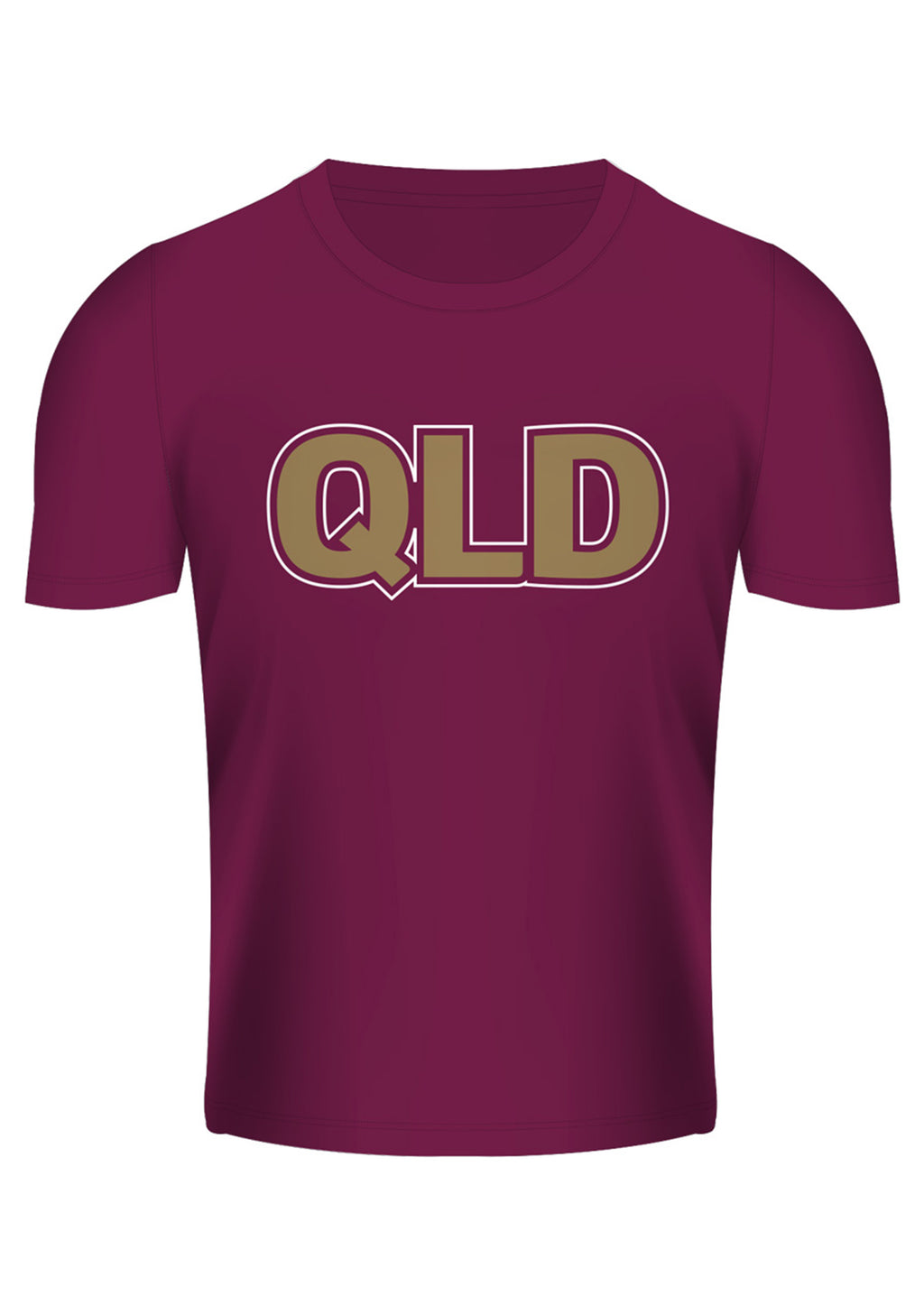 ISC STATE OF ORIGIN QUEENSLAND MAROONS TEXT TEE <BR> QM18TSH22M