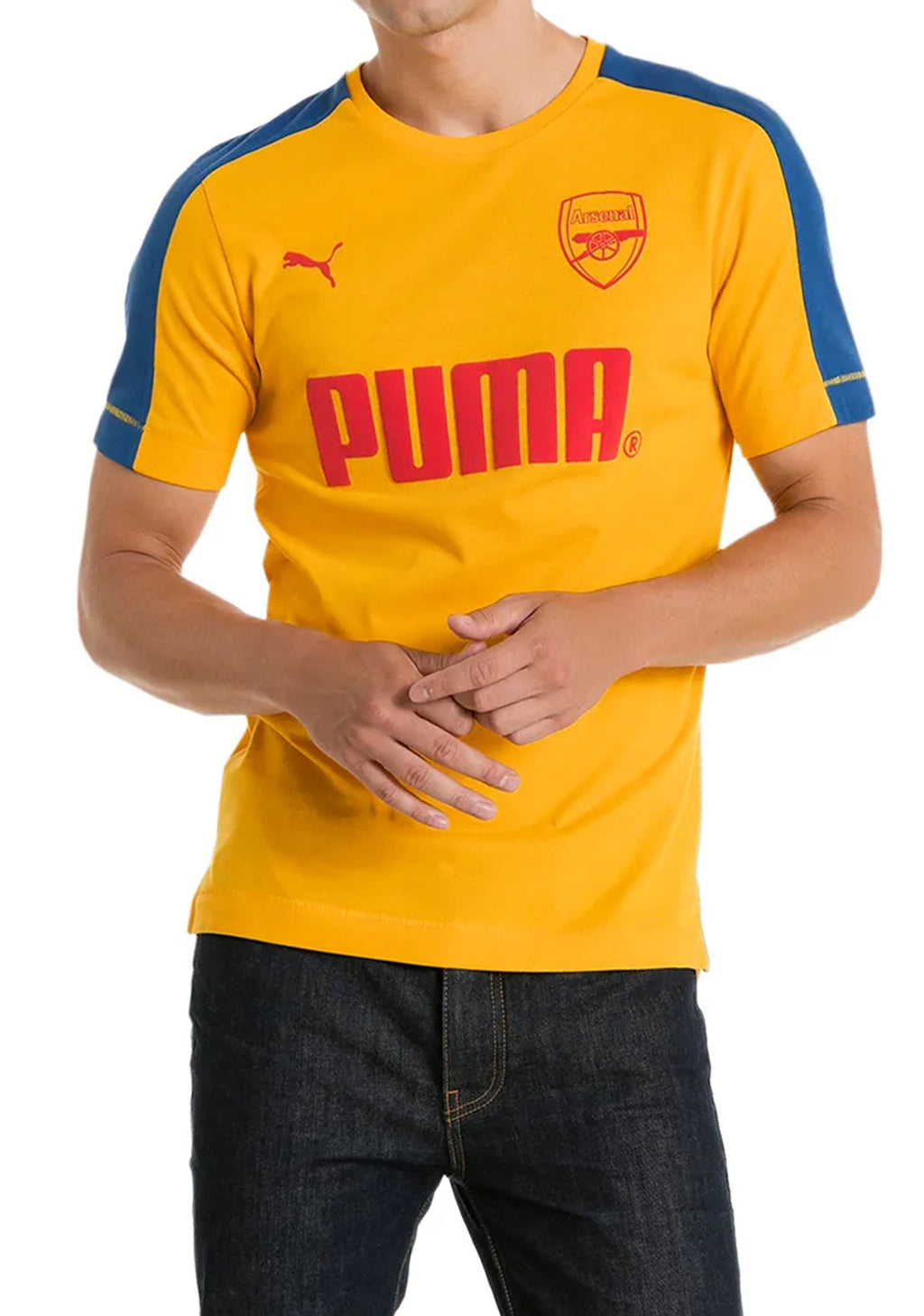 PUMA MENS ARSENAL FOOTBALL CLUB T SHIRT YELLOW <BR> 751980