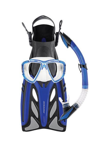 MIRAGE CRYSTAL MASK SNORKEL & FIN SET ADULTS BLUE <br> FSET-43