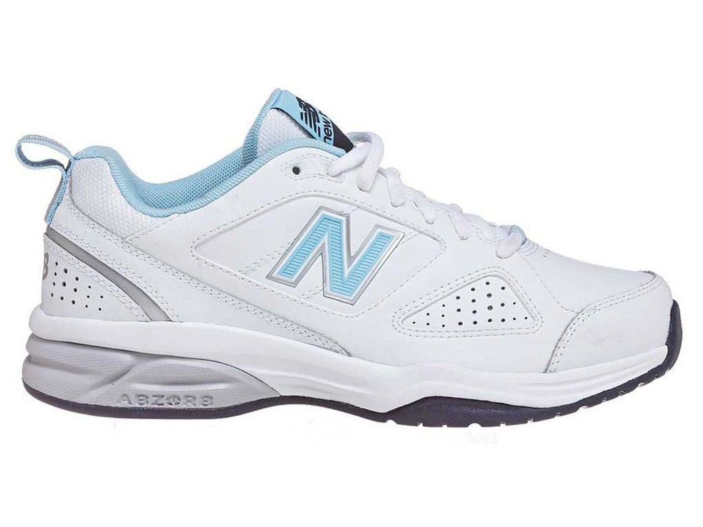 NEW BALANCE WOMENS 624 V4 WHITE/BLUE WX624WB4 (D WIDTH) <br> WX624WB4