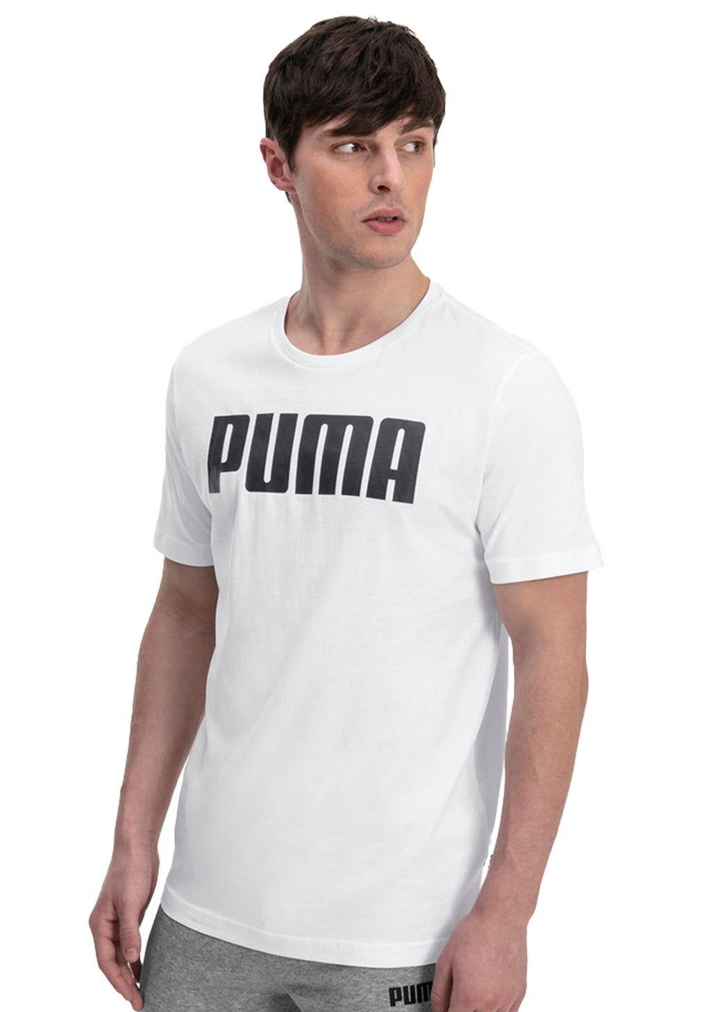 PUMA MENS ESSENTIAL LOGO TEE WHITE <BR> 854742 02