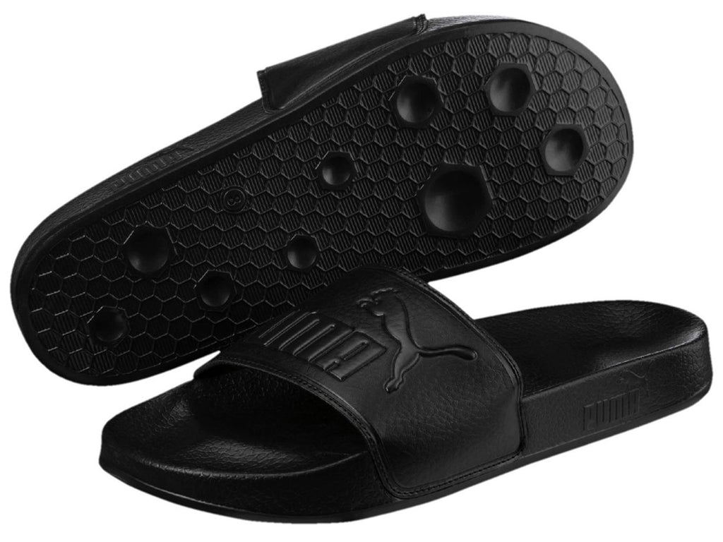 PUMA MENS LEADCAT BLACK BLACK SLIDES <br> 360263 10