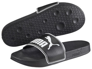 PUMA MENS LEADCAT BLACK WHITE SLIDES <br> 360263 01