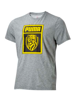 PUMA WOMENS RICHMOND TIGERS FOOTBALL CLUB  SHOE TAG TEE GREY <BR> 703900 02