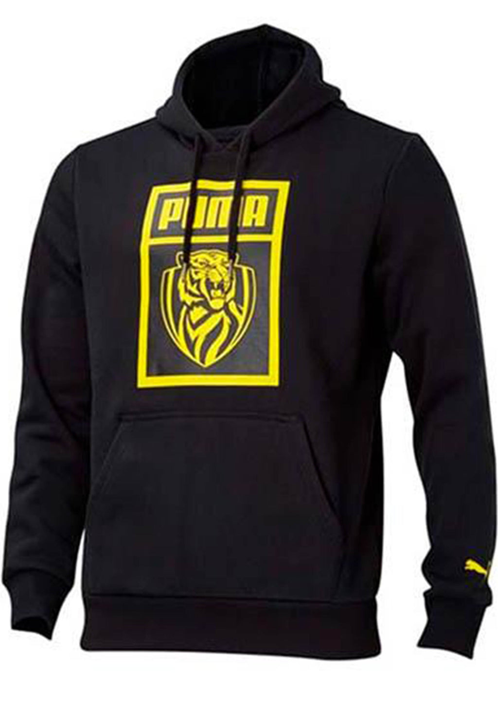 PUMA RICHMOND TIGERS FOOTBALL CLUB SHOE TAG HOODIE WOMENS BLACK <br> 70387301