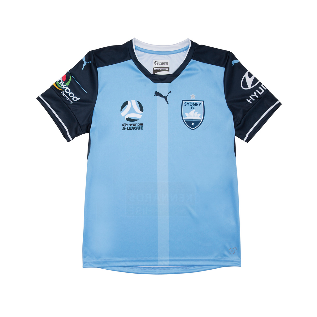 PUMA SYDNEY FC AUTHENTIC HOME JERSEY YOUTH WITH FREE PUMA SYDNEY FC T7 TEE IN LITTLE BOY BLUE JUNIOR <br> 76255301