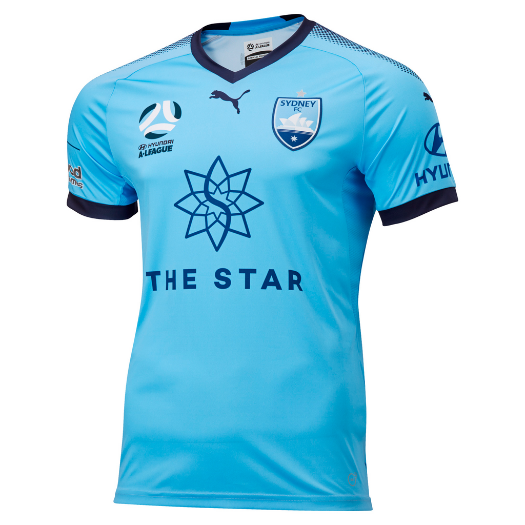 PUMA SYDNEY FC AUTHENTIC HOME JERSEY MENS WITH FREE PUMA SYDNEY FC T7 TEE 76243401  <br> 75461401