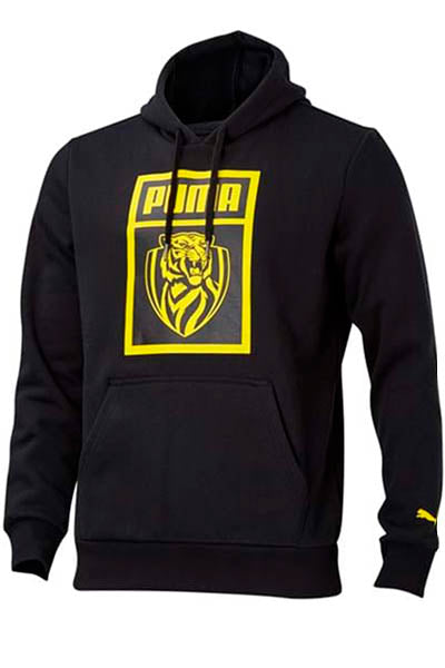 PUMA RICHMOND TIGERS FOOTBALL CLUB SHOE TAG HOODIE MENS BLACK <br> 703837011