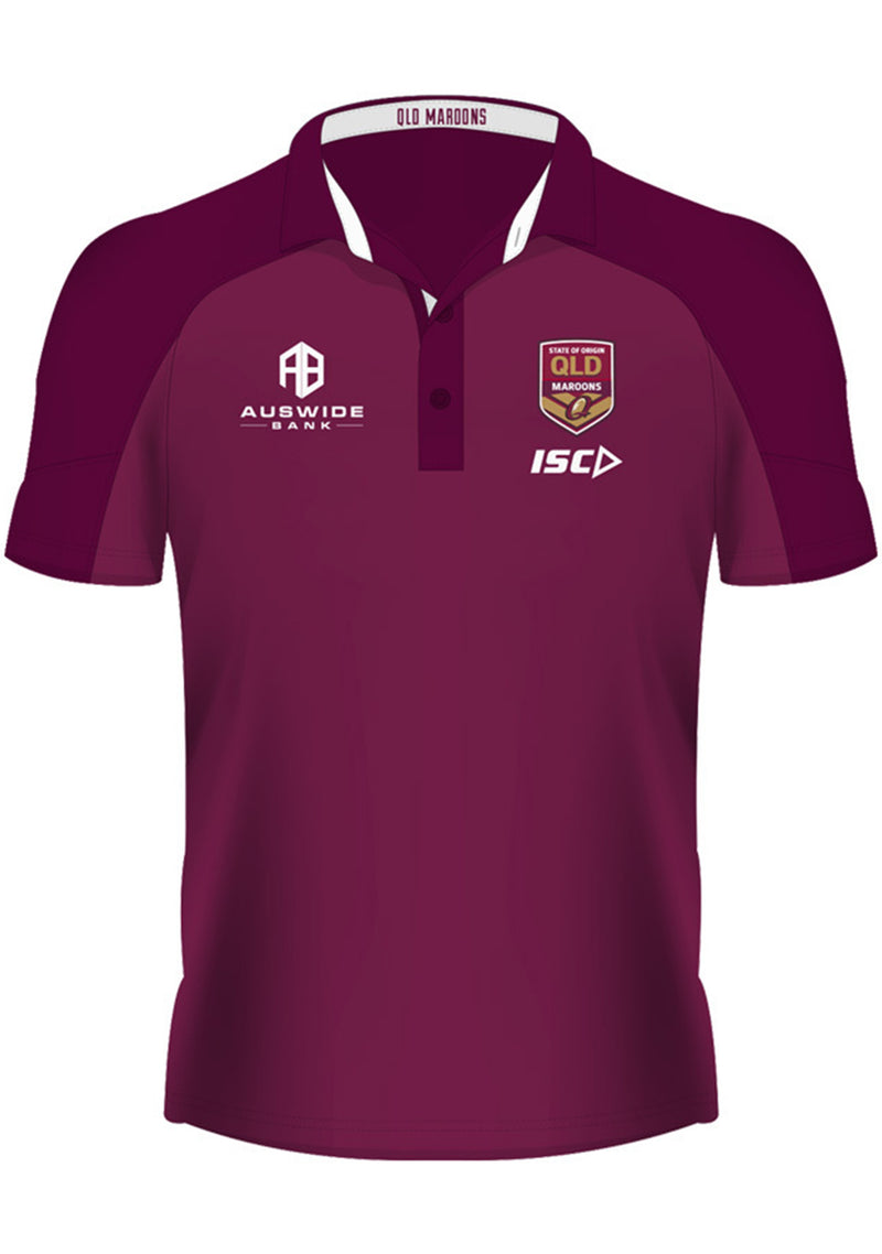 ISC STATE OF ORIGIN QUEENSLAND MAROONS 2019 JUNIOR PERFORMANCE POLO <BR> QM19POL01K