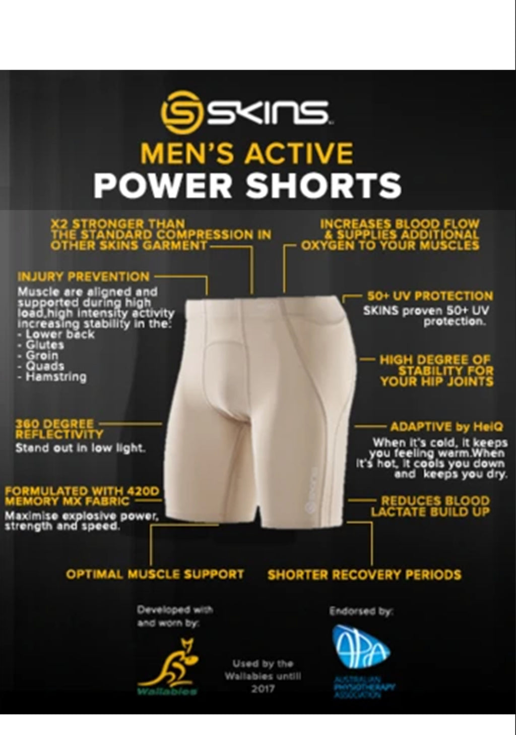 SKINS A400 POWER SHORTS FLESH TONE MENS <br> ZB99323039002