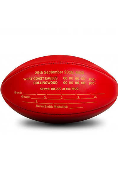 SHERRIN WEST COAST EAGLES 2018 PREMIERSHIP GAME BALL <br> 4111AFLPREM18BOX,- Jim Kidd Sports
