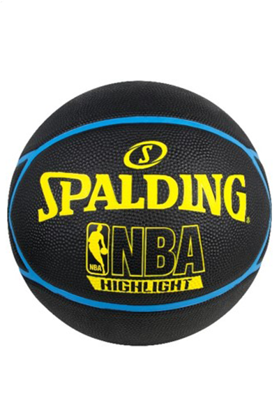 SPALDING NBA HIGHLIGHT OUTDOOR BASKETBALL <br> BLUE AND YELLOW