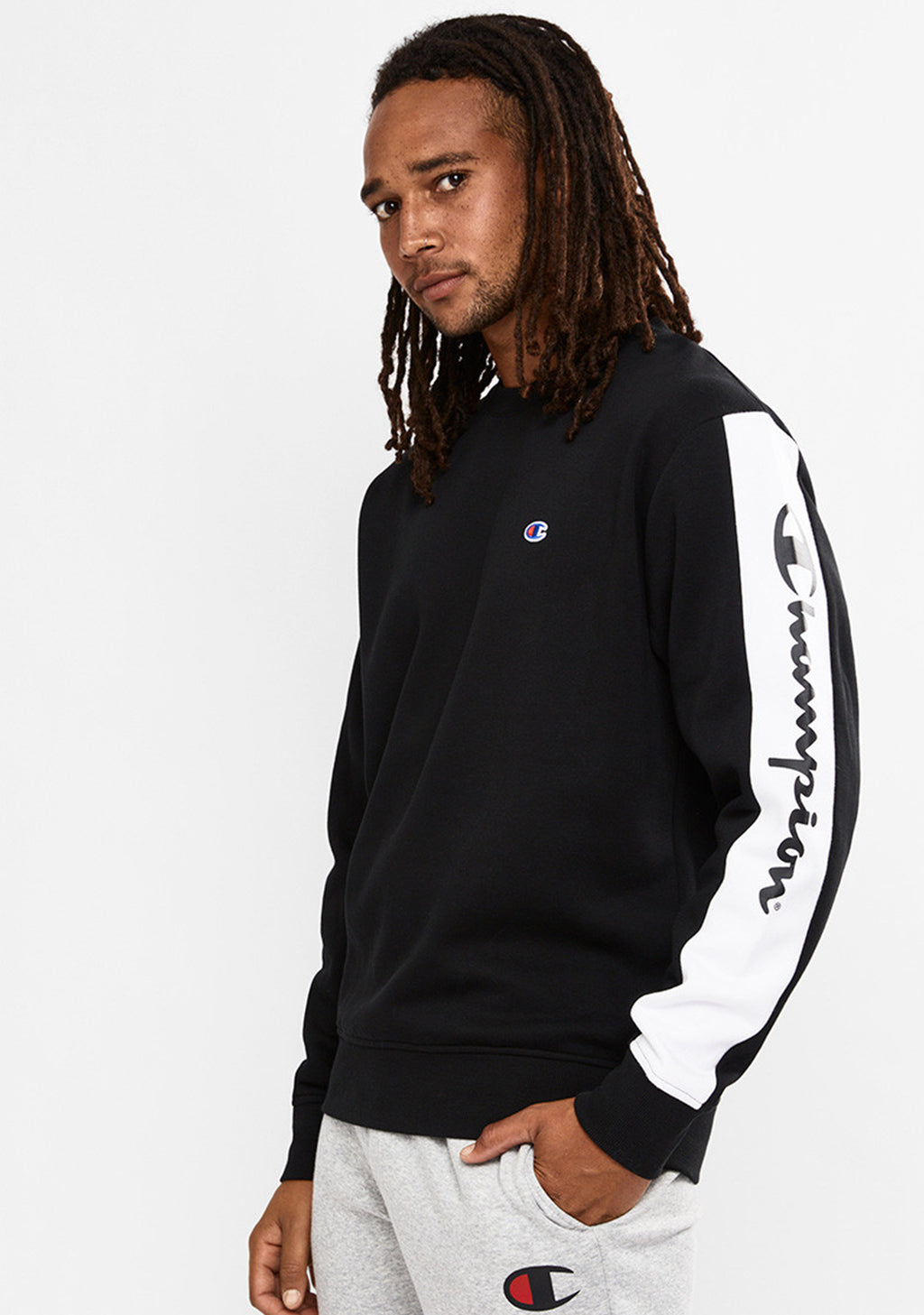 CHAMPION MENS SPORTY PANEL CREW <BR> AX3DN