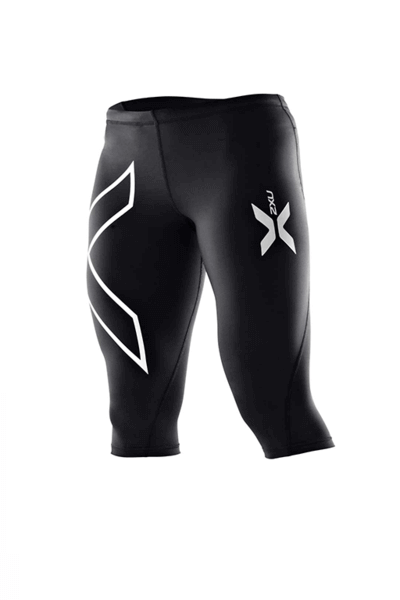 2XU WOMENS COMPRESSION 3/4 TIGHT SILVER <br> WA1943b-BLKBLK,- Jim Kidd Sports