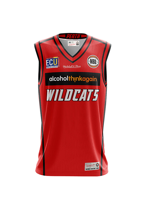 MITCHELL & NESS PERTH WILDCATS HOME JERSEY MENS <br> PWK001,- Jim Kidd Sports