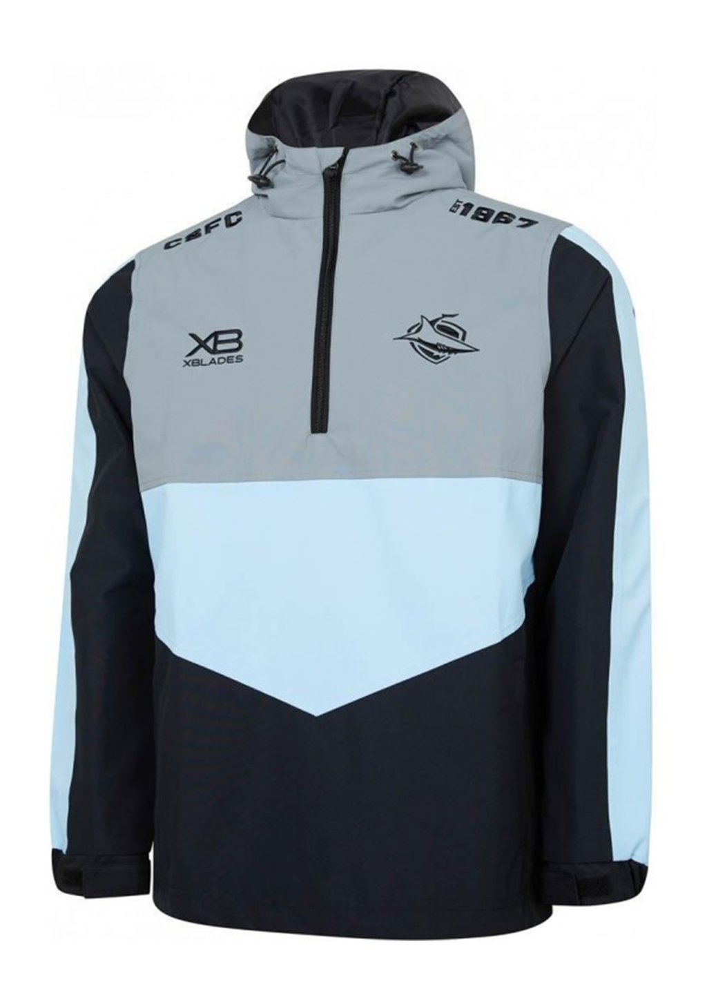 XBLADES CRONULLA SUTHERLAND SHARKS 2019 WET WEATHER JACKET MENS <br> CROWWJL19MBL