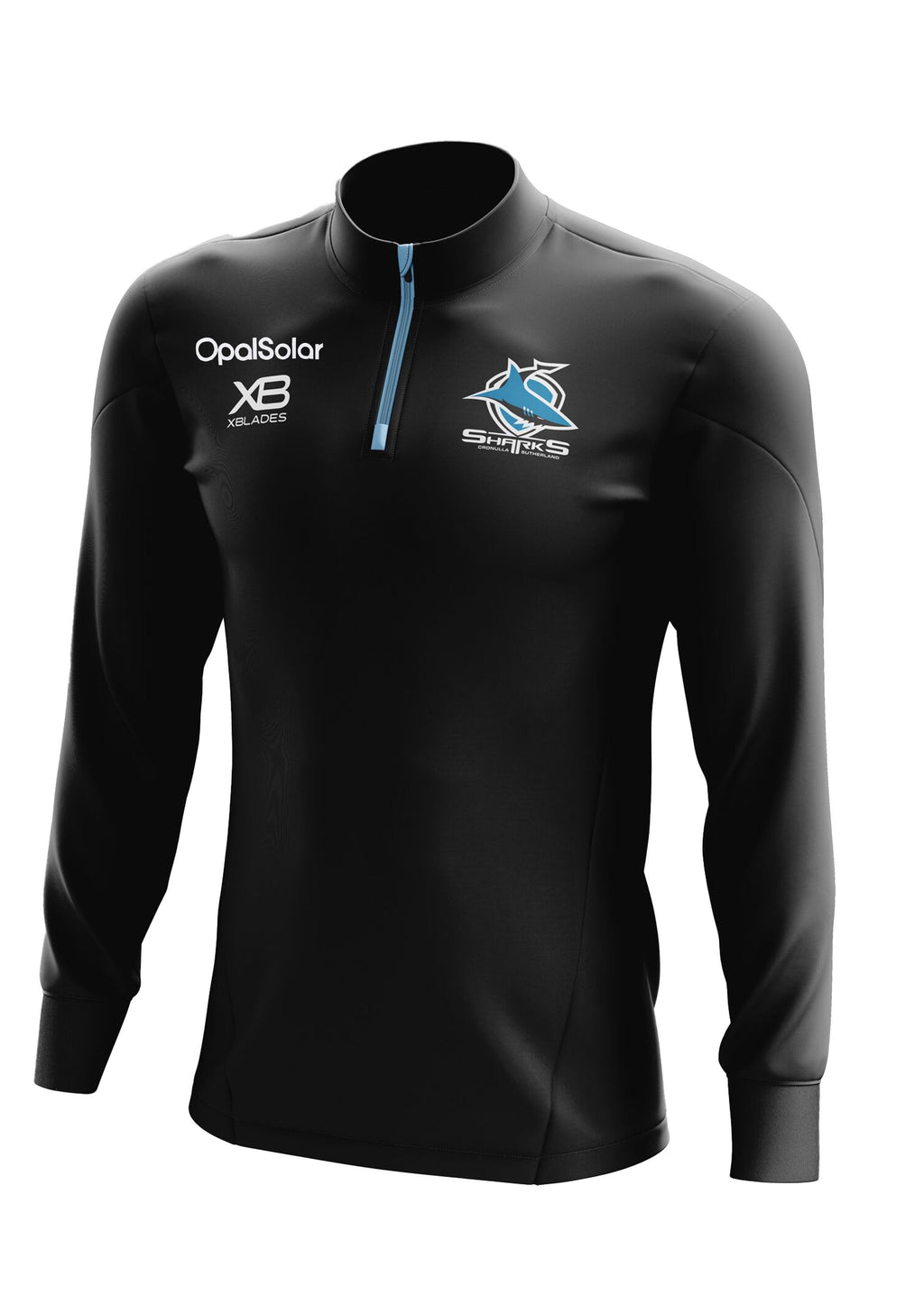 XBLADES CRONULLA SUTHERLAND SHARKS 2018 PERFORMANCE 1/4 MENS ZIP TOP <BR> APXBCROPZT18MEN