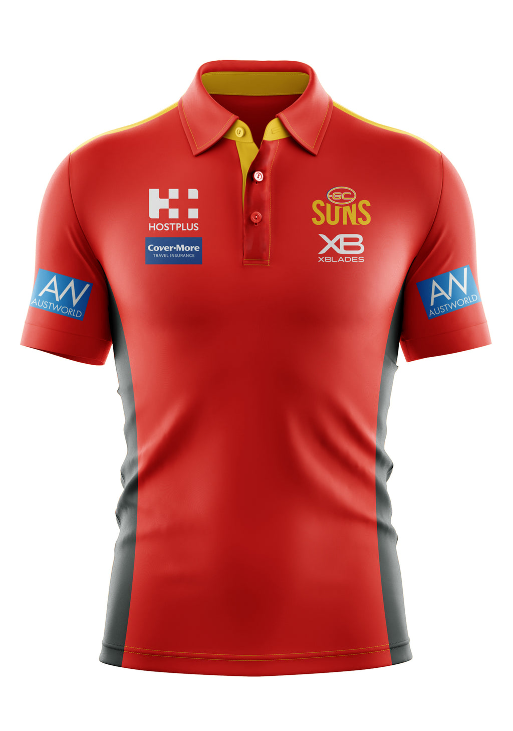 XBLADES GOLD COAST SUNS MENS 2019 MEDIA POLO <BR> GSC-MDP-L19 M-L-RDG