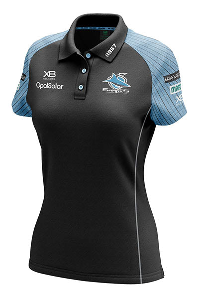 XBLADES CRONULLA SUTHERLAND SHARKS MEDIA POLO 2018 WOMENS BLACK <br> AP-XB-CRO-MDP-18