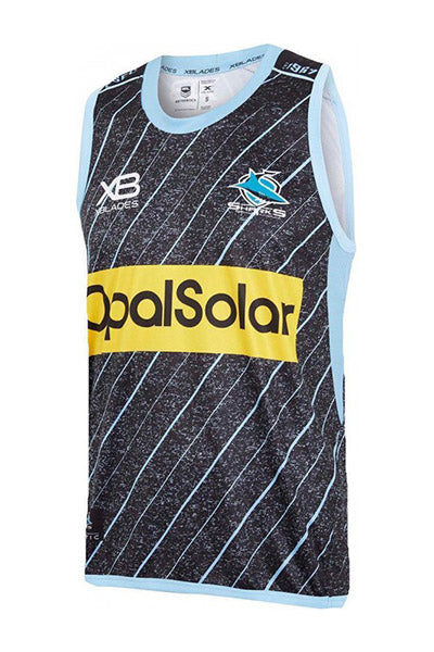 XBLADES CRONULLA SUTHERLAND SHARKS TRAINING SINGLET 2018 JUNIOR BLACK <br> AP-XB-TGS-18