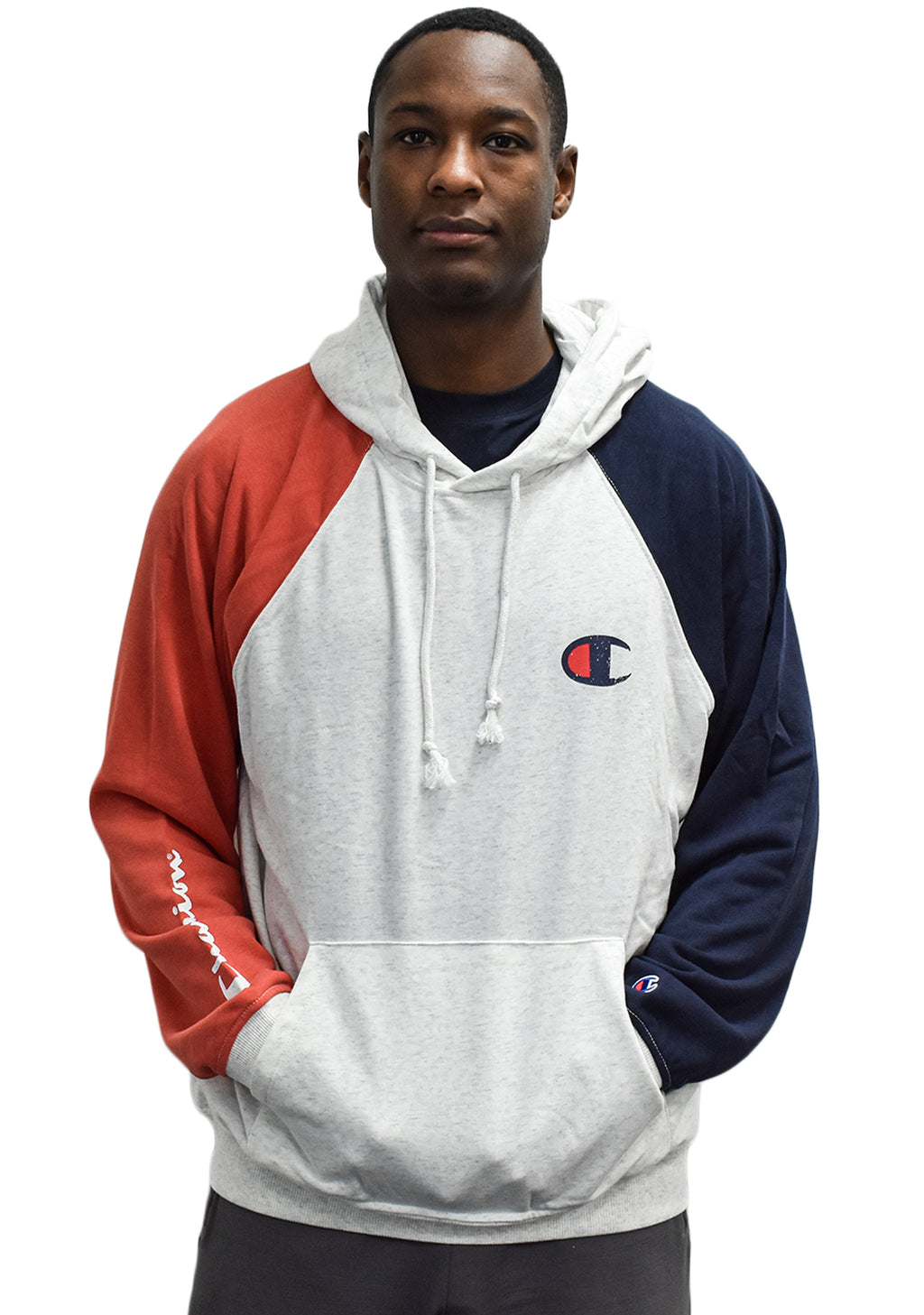 CHAMPION MENS FRENCH TERRY COLOURBLOCK HOODIE <br> AWHWN