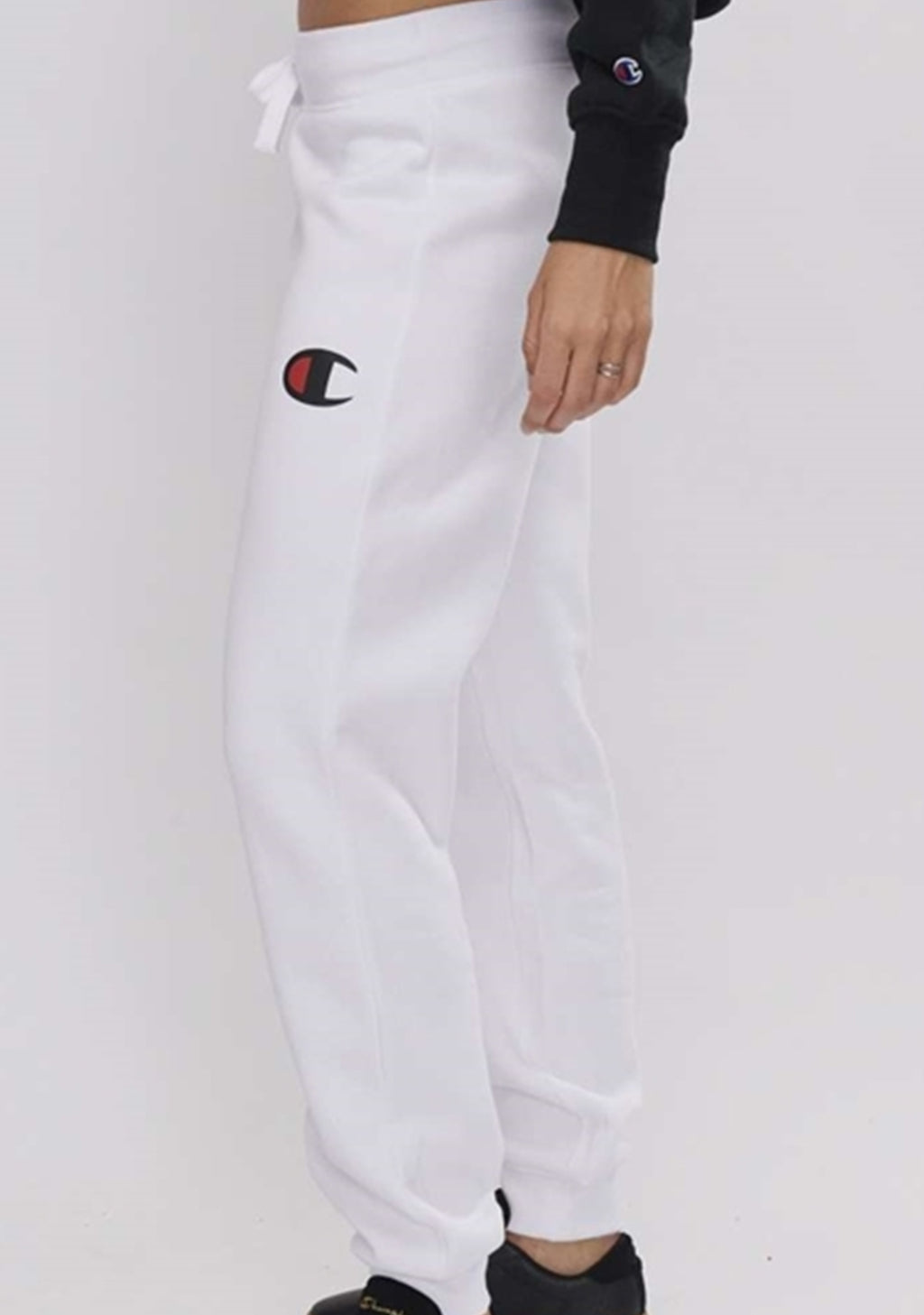 CHAMPION WOMENS C LOGO CUFF PANT WHITE <BR> CWFWN