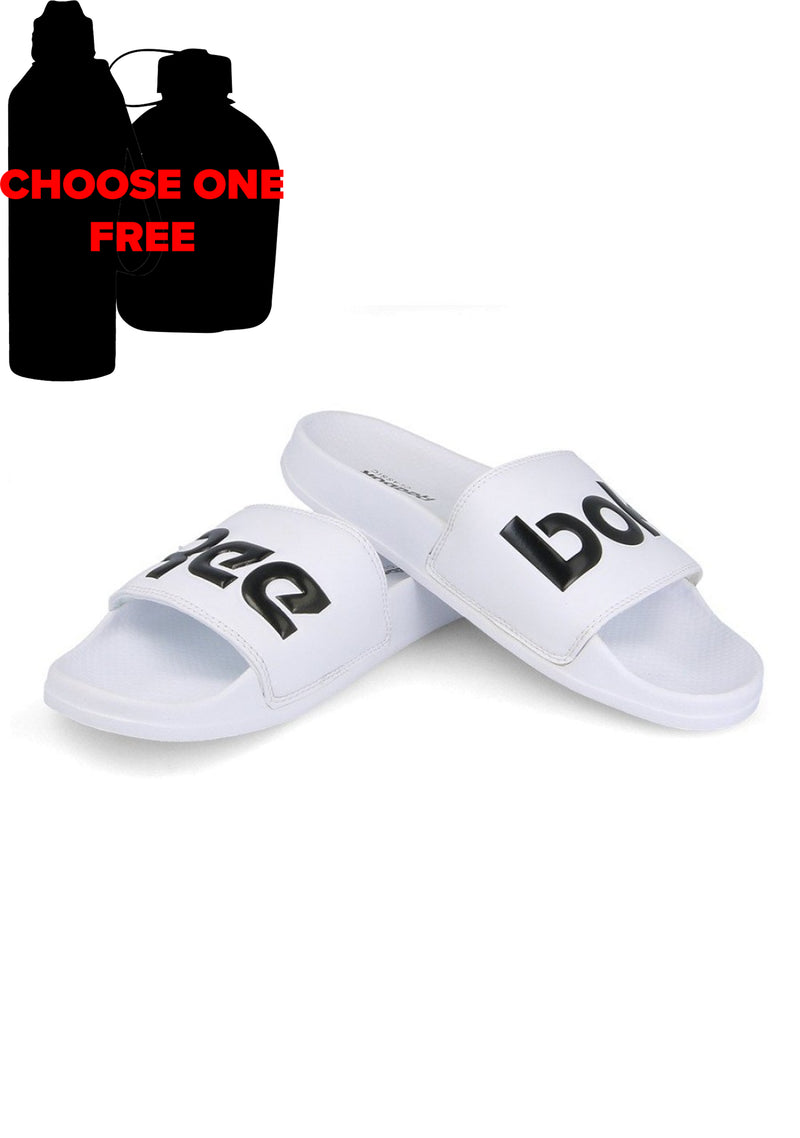 REEBOK WHITE CLASSIC SLIDES UNISEX WITH CHOICE OF FREE DRINK BOTTLE <br> CN0736