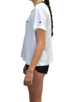 CHAMPION WOMENS RINGER PANEL TEE <br> CUJPN