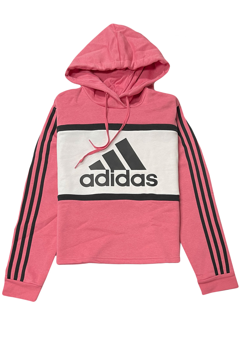 ADIDAS WOMENS ESSENTIALS LOGO COLOURBLOCK CROPPED HOODIE BLACK/PINK <br> GM7127