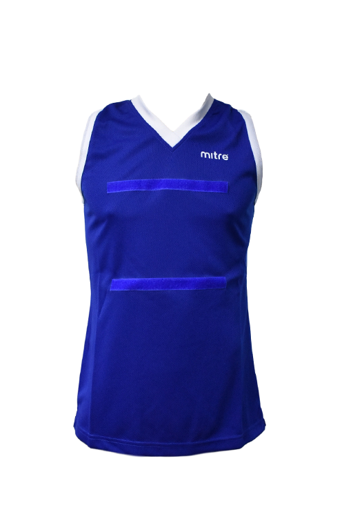 MITRE NETBALL CLUB SLEEVELESS TOP ROYAL BLUE <br> MT7110,- Jim Kidd Sports