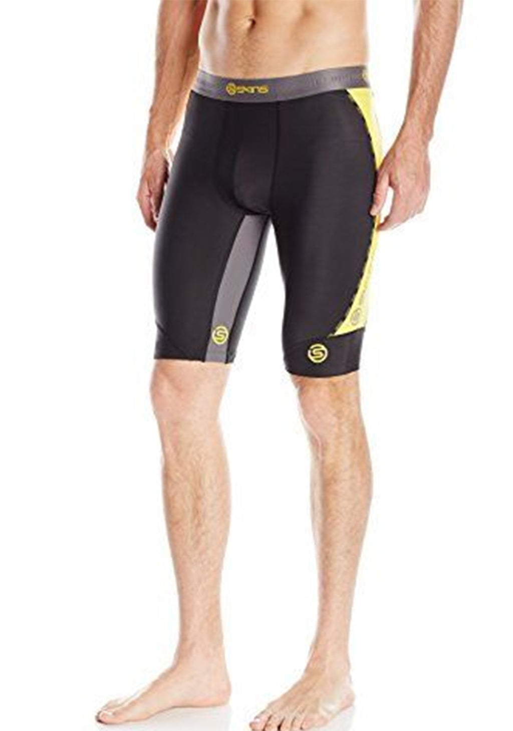 SKINS MENS DNAMIC HALF TIGHT (BLACK/CITRON) <BR> DA99050029238
