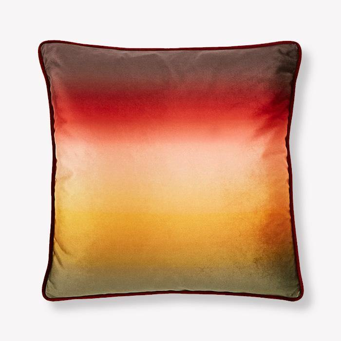 Ombre Green Red Velvet Pillow