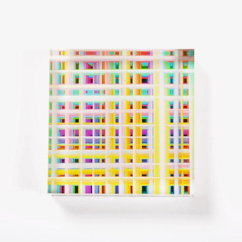 Ana Romero Collection Paperweight Grid Acrylic Paperweight