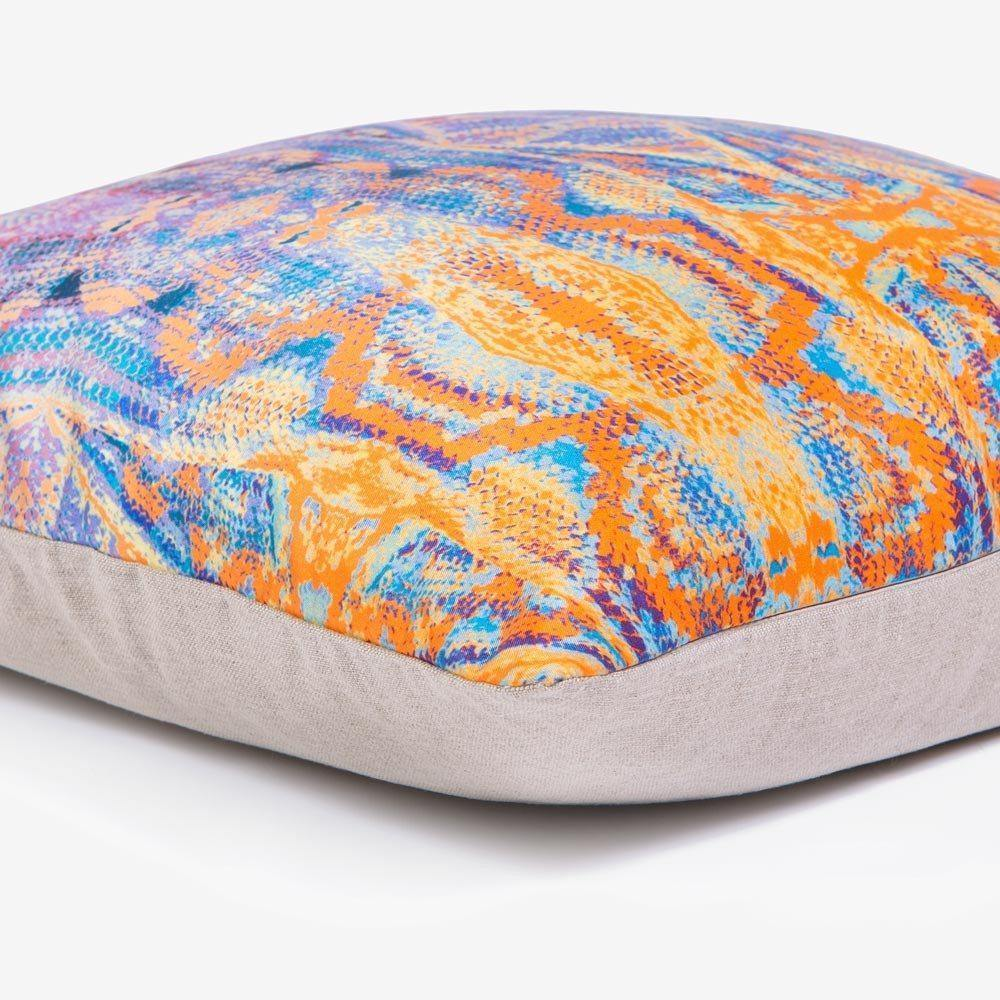 Ana Romero Collection Pillows Snake Skin Orange Silk Pillow