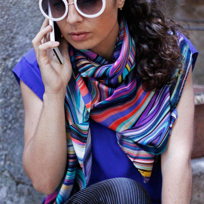 Ana Romero Collection Scarves Optical Swirl II Silk Scarf