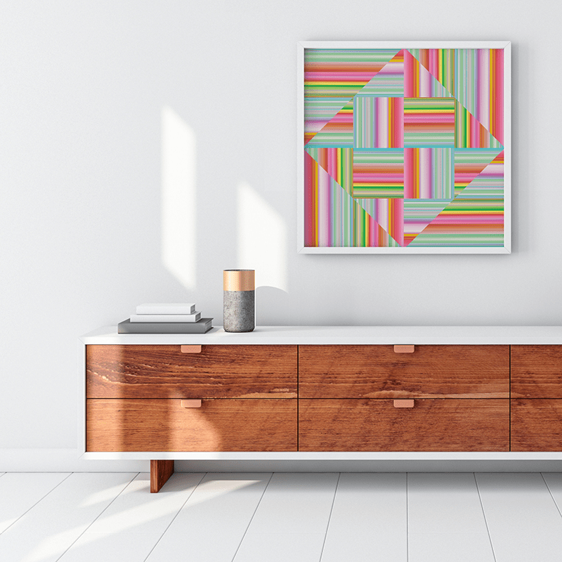 Technicolor by Ana Romero Art Print Diamond Weaved Stripes Art Print