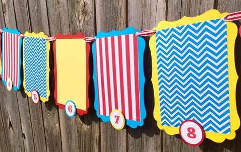 Circus First Birthday Photo Banner • Ships in 1-2 days