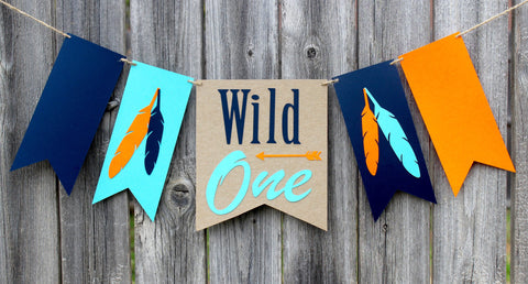 Wild One Tribal First Birthday High Chair Banner