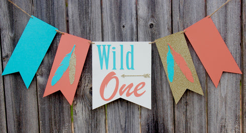 Wild One Tribal Boho Princess First Birthday High Chair Banner • Ships Next Day