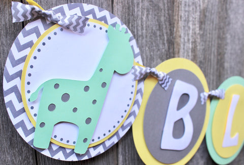 "Giraffe Baby Shower Banner • ""It's a Boy"" • Ships in 1-2 days"