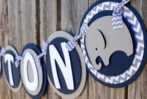 "Elephant Baby Shower Banner • ""It's a Boy"""