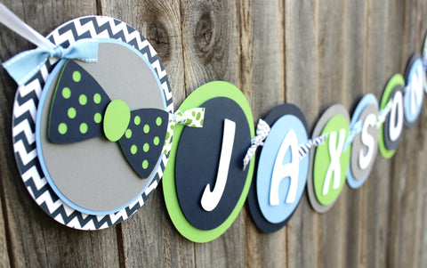 "Bow Tie Baby Shower Theme Banner • ""Name"" Banner"