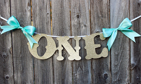 "Aqua & Gold Glitter ""ONE"" High Chair Banner • Ships Next Day"