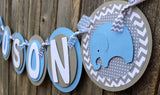 "Elephant Baby Shower Banner • ""IT'S A BOY"" or ""NAME"""