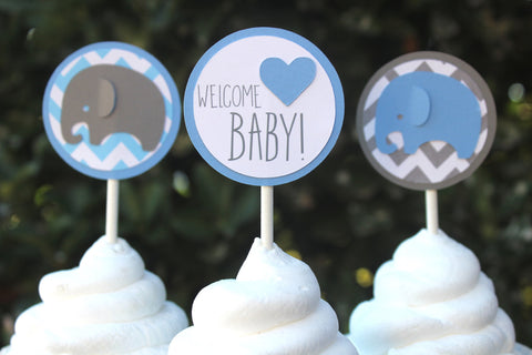Elephant Cupcake Toppers • Ships Next Day