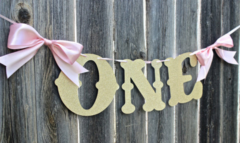"Pink & Gold Glitter ""ONE"" High Chair Banner"