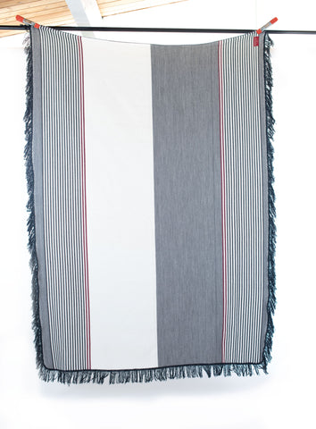 Taita Wool Blend Throw Blanket- Creme Stripe